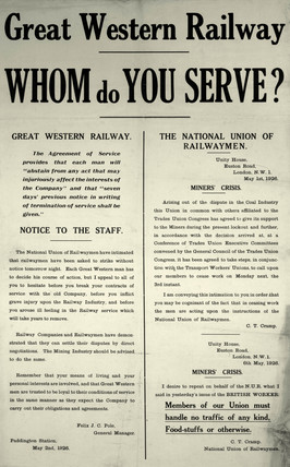 'Whom do you Serve?', GWR notice, 1926.