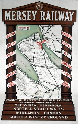 'Mersey Railway' poster, c 1920s.
