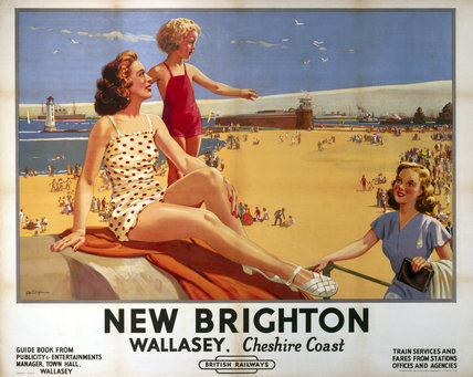 'New Brighton - Wallasey, Cheshire Coast', BR (LMR) poster, 1949.