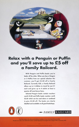 'Relax with a Penguin or Puffin...', BR poster, 1992.