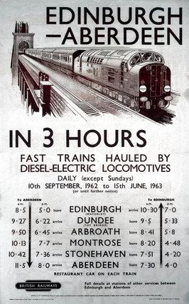 'Edinburgh-Aberdeen in 3 Hours', BR (ScR) poster, 1962.
