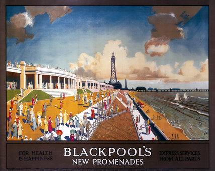 'Blackpool's New Promenades', LMS poster, 1923- 1947.