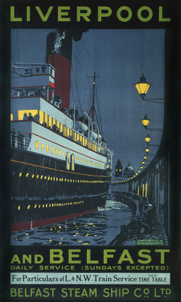'Liverpool and Belfast', LNWR/Belfast Steam Ship Company poster, c 1920.
