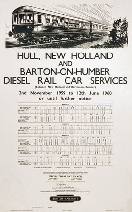 Diesel Rail Car Services, poster, 1960.