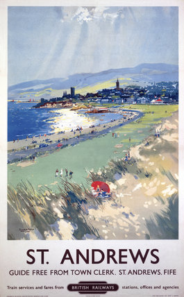 'St Andrews', BR (ScR) poster, c 1950s.