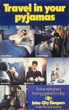 'Travel in your Pyjamas. Inter-City Sleepers', BR poster, 1976.