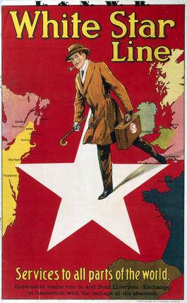 'White Star Line', LNWR poster, c 1900-1910.