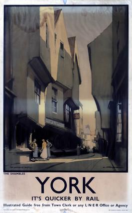 'The Shambles, York', LNER poster, c 1930s.