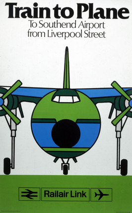 'Train to Plane', BR poster, c 1980s.