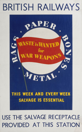 'Waste is Wanted for War Weapons', GWR/LMS/LNER/SR poster, 1939-1945.