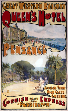 'Queen's Hotel, Penzance', GWR poster, c 1909.