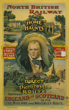'The Home & Haunts of Sir Walter Scott', NBR poster, 1907.