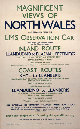Magnificent Views of North Wales', LMS notice c 1930s.