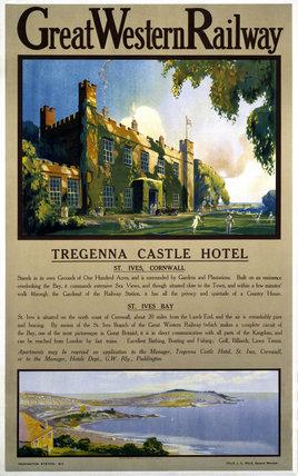 Tregenna Castle Hotel, St Ives, GWR poster, 1923-1947.