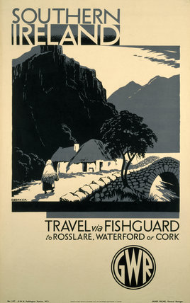 'Southern Ireland - Travel via Fishguard', GWR poster, 1923-1947.