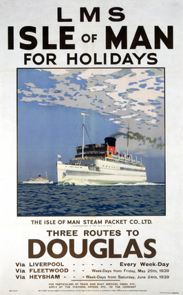 'Isle of Man for Holidays', LMS poster, 1923-1947.