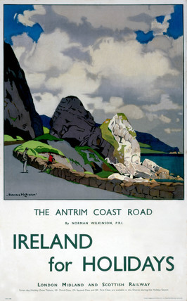 'Ireland for Holidays - The Antrim Coast Road', LMS poster, 1923-1947.