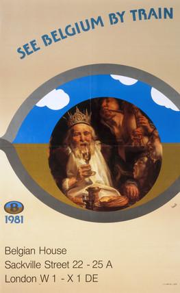 'See Belgium by Train', Belgian National Railways poster, 1981.