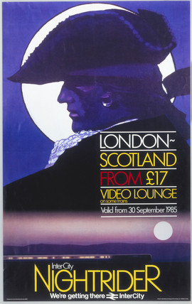 InterCity Nightrider, BR(CAS) poster, 1985.