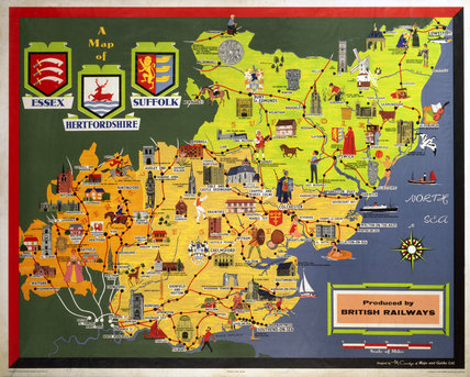 'A Map of Essex, Suffolk and Hertfordshire', BR (ER) poster, c 1950s.