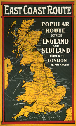 'East Coast Route', GNR/NER/NBR poster, c 1900-1910.