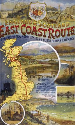 'East Coast Route', GNR/NER/NBR poster, c 1900.