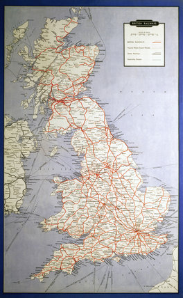British Railways Map Of System And Shipping Routes 1962