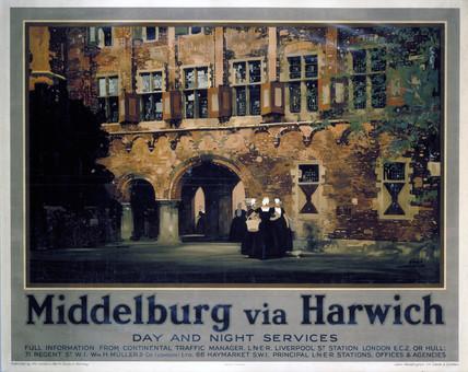 'Middelburg via Harwich', LNER poster, 1928.