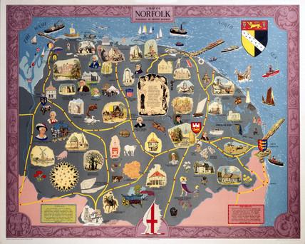 Map of Norfolk, BR (ER) poster, 1948-1965.
