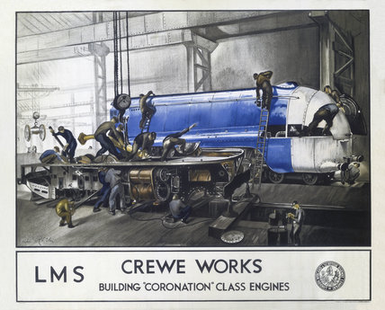 'Crewe Works', LMS poster, 1937.