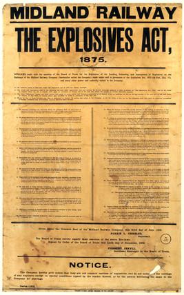 The 1875 Explosives Act, Midland Railway notice, isued 1903.