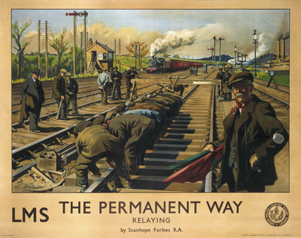 'The Permanent Way: Relaying', LMS poster, 1924.