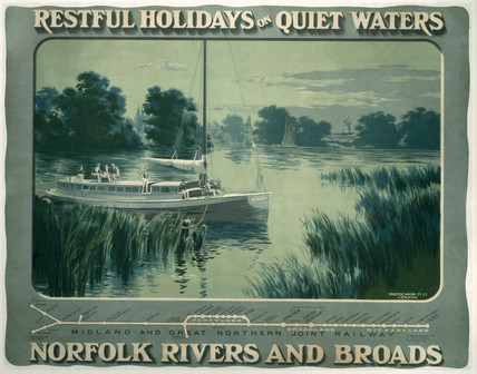 'Restful Holidays on Quiet Waters', M & GNR poster, 1914.