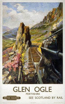 'Glen Ogle, Perthshire', BR (ScR) poster, c 1950s.