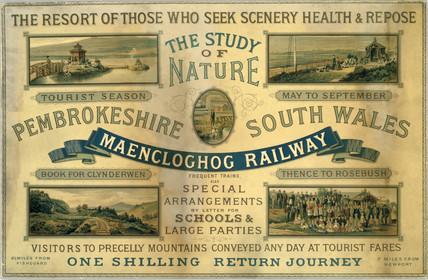 Maencloghog Railway card advertisement, 1923-1947.