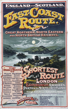 'East-Coast Route', GNR/NER/NBR poster, 1895.