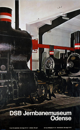 'DSB Jernbanemuseum, Odense', poster, c 1980s.