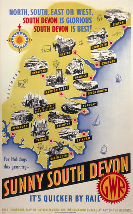 'Sunny South Devon', GWR poster, 1923-1947.