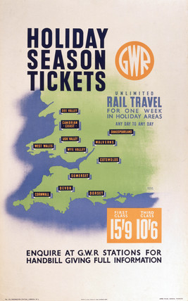'Holiday Season Tickets', GWR poster, c 1930s.