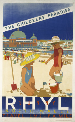 'Sunny Rhyl, The Children's Paradise' LMS poster, c 1930.