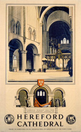 'Hereford Cathedral', GWR/LMS poster, 1923-1947.