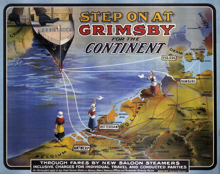 'Step On at Grimsby for the Continent', GCR poster, 1911.