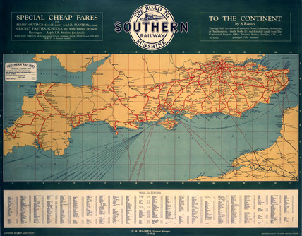 'The Road to Southern Railway Sunshine', SR poster, 1927.