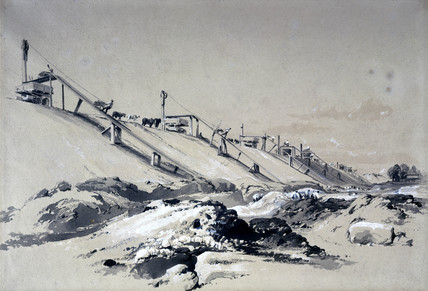 Constructing the embankment, Boxmoor, Hertfordshire, 19 June 1836.