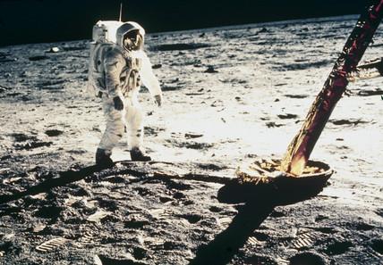 Apollo 11astronaut Edwin 'Buzz' Aldrin on the Moon, 1969.