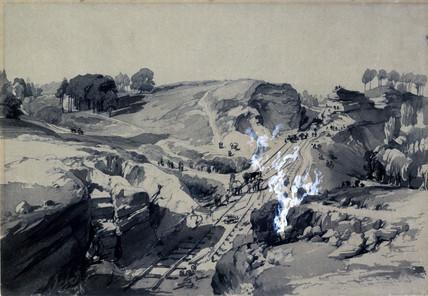 Blasting rocks, Linsdale, Buckinghamshire, 1830s.