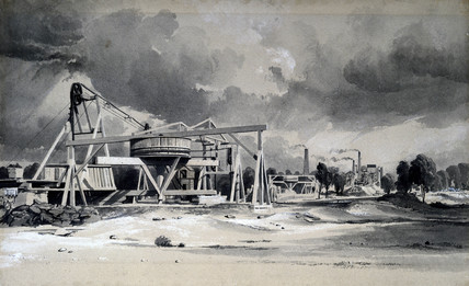 Headgear and pumps at Kilsby Tunnel, Northamptonshire, 16 July 1837.