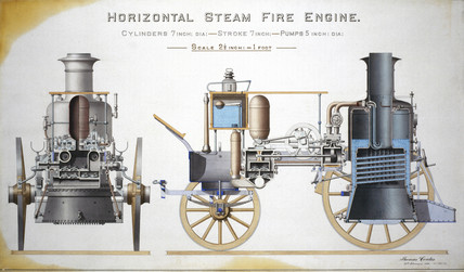 Horizontal steam fire engine, c 1885.