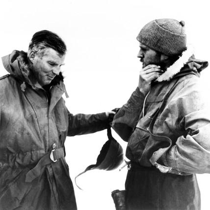 Lt Cmdr Dalgleish and Sir Vivian Ernest Fuchs, British explorers, c 1957.