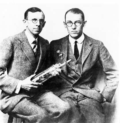 Clinton J Davison and Lester H Germer, American physicists, c 1927.